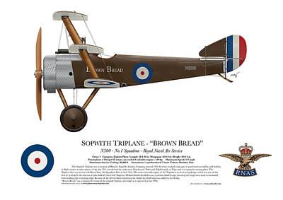 World War One Digital Art - Sopwith Triplane - ' Brown Bread ' - Side Profile View by Ed Jackson