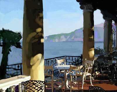 Old World Landscape Painting - Sorento Cafe by Brad Burns