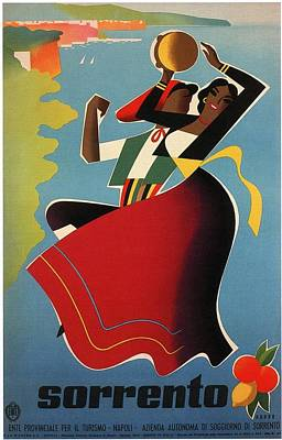 Royalty-Free and Rights-Managed Images - Sorrento, Bay of Naples, Italy - Dancing Couples - Retro travel Poster - Vintage Poster by Studio Grafiikka