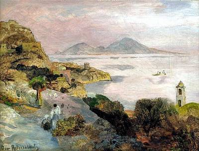 Vintage College Subway Signs Color - Sorrento Coast Overlooking Capri Oswald Achenbach by Oswald Achenbach