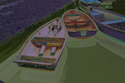Digital Art - Sorrento Harbor Boats With Sabattier by Bill Barber