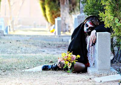 Sorrow - Dia De Los Muertos Art Print by Val Armstrong