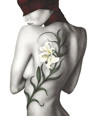 White Lily Painting - Sorrow by Pat Erickson