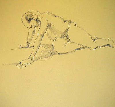 Male Nude Drawing Drawing - Sorrow by Robert Spannring