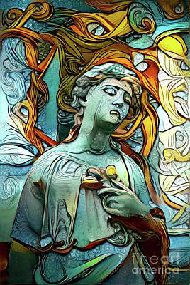 Angelic Digital Art - Sorrowful Angel 1 by Amy Cicconi