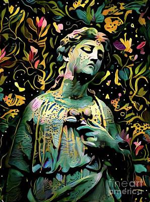 Angelic Digital Art - Sorrowful Angel 6 by Amy Cicconi