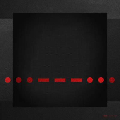 Sos International Morse Code Prosign - Red On Black Original by Serge Averbukh