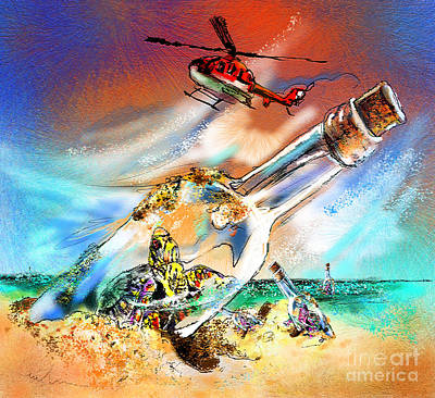 Helicopter Mixed Media - Sos To The World by Miki De Goodaboom