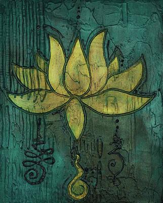 Sotapanna 4 Lotus Flower Painting With Unalome Symbols Original
