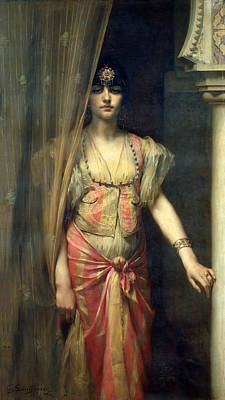 Concubine. Harem Girl Painting - Soudja Sari by Gaston Casimir Saint Pierre