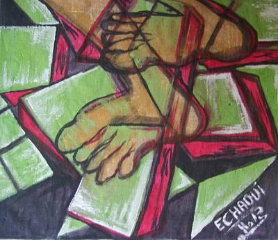 Souffrance 01 2007 Art Print by Halima Echaoui