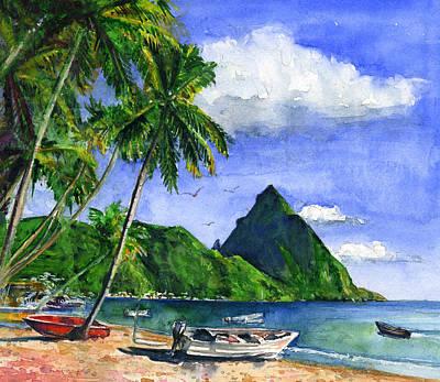Painting - Soufriere Saint Lucia by John D Benson