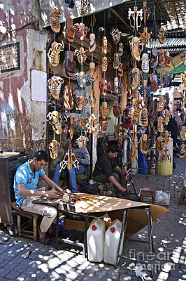 Photograph - Souk Sandal Makers In Marrakech by David Birchall
