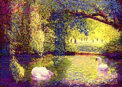 Autumn Scene Painting - Swans, Soul Mates by Jane Small