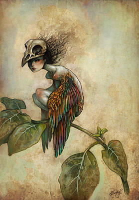 Parchment Painting - Soul Of A Bird by Caroline Jamhour
