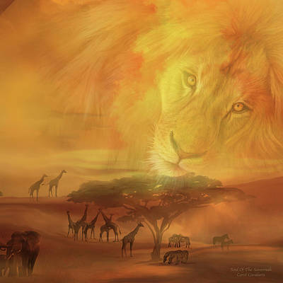 Mixed Media - Soul Of The Savannah Sq by Carol Cavalaris