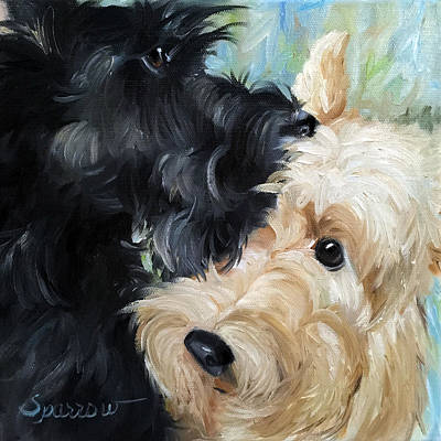 Terrier Art Painting - Soulmates by Mary Sparrow