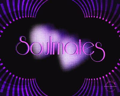Digital Art - Soulmates - Art Deco Purple Blue by Absinthe Art By Michelle LeAnn Scott