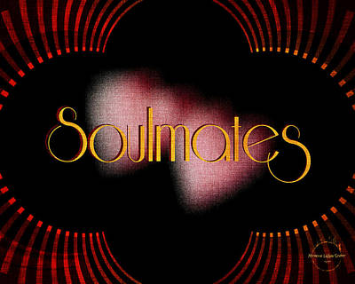 Digital Art - Soulmates - Art Deco Red Gold by Absinthe Art By Michelle LeAnn Scott
