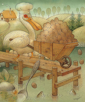 Pelican Drawing - Soup In The Lake by Kestutis Kasparavicius