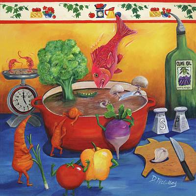 Broccoli Painting - Souper Snapper And The Stew Crew by Debbie McCulley