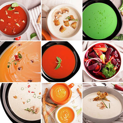 Tomato Puree Photograph - Soups Puree Photo Collage  by Vadim Goodwill