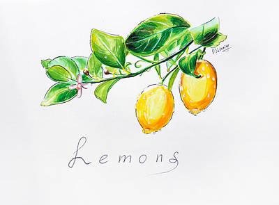 Sour Drawing - Sour Lemons by Viktoriya Lavtsevich