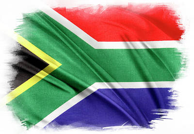 South Africa Flag Print by Les Cunliffe