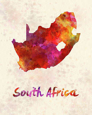 South Africa  In Watercolor Art Print by Pablo Romero