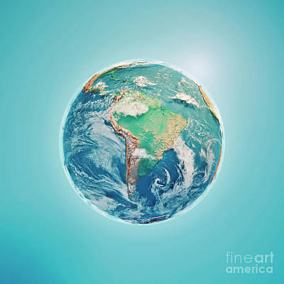 World Map Digital Art - South America 3d Render Planet Earth Clouds by Frank Ramspott