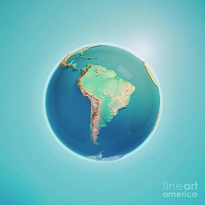 Cartography Digital Art - South America 3d Render Planet Earth by Frank Ramspott