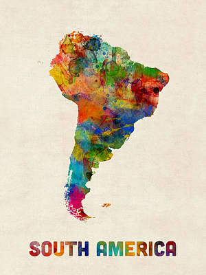 South America Digital Art - South America Watercolor Map by Michael Tompsett