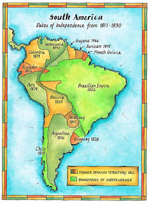French Map Digital Art - South American Independence by Jennifer Thermes