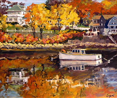 Rockport Massachusetts Painting - South Basin In Fall Color by Chris Coyne