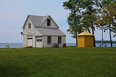 South Bass Island Lighthouse Barn And Oil Storage Building I Art Print by Michiale Schneider