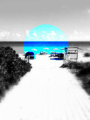 Abstract Beach Landscape Digital Art - South Beach Blues by Funkpix Photo Hunter