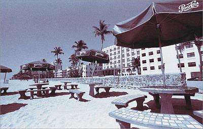 Miami Photograph - South Beach Miami Tropical Art Deco Beach Tables - Blue by Steven Hlavac