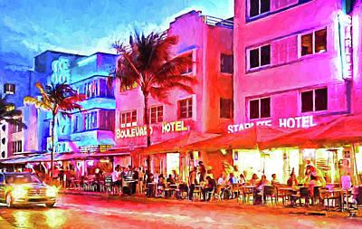 South Beach Neon Art Print by Dennis Cox WorldViews