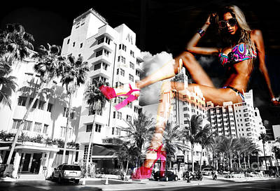 Photograph - South Beach Party Girl by John Rizzuto