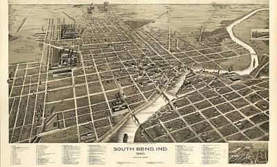 South Bend Indiana 1890 Art Print