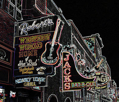 Photograph - South Broadway Nashville Styilized by Tom Wurl