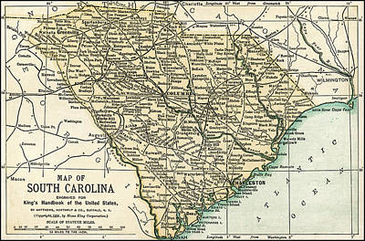 Photograph - South Carolina Antique Map 1891 by Phil Cardamone