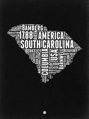 South Carolina Wall Art - Digital Art - South Carolina Black And White Map by Naxart Studio