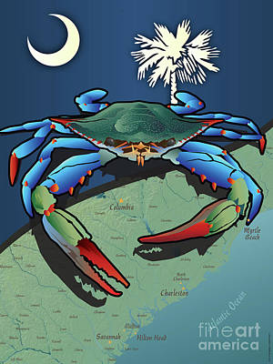Digital Art - South Carolina Blue Crab by Joe Barsin