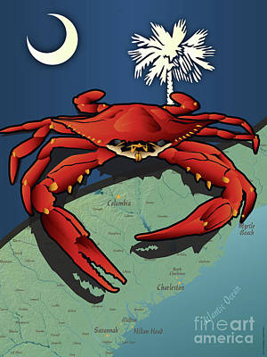 Digital Art - South Carolina Crab by Joe Barsin