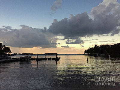 Photograph - South Carolina Lake Murray Surreal Clouds Pier Beach Scene by Kathy Fornal