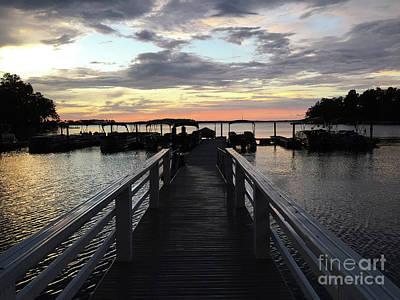 Photograph - South Carolina Lake Murray Surreal Coastal Beach Pier Bridge Walkway - Surreal Sunset Lake Murray  by Kathy Fornal