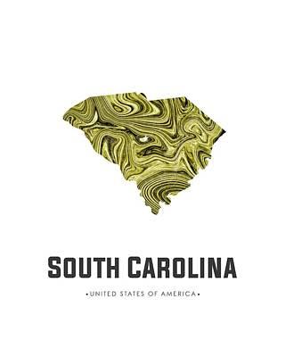 Mixed Media - South Carolina Map Art Abstract In Olive by Studio Grafiikka