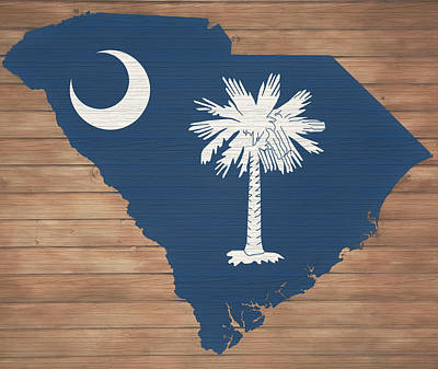 Mixed Media - South Carolina Rustic Map On Wood by Dan Sproul