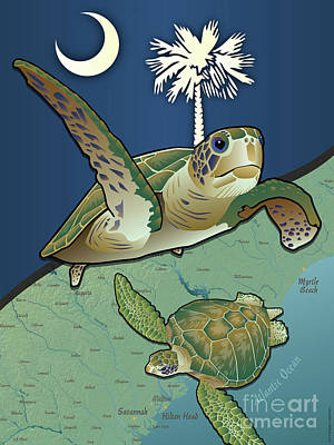 Digital Art - South Carolina Sea Turtles by Joe Barsin